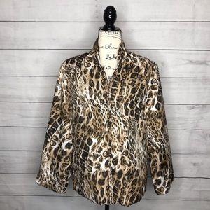 Chico's casual leopard print jacket size 2 (L)